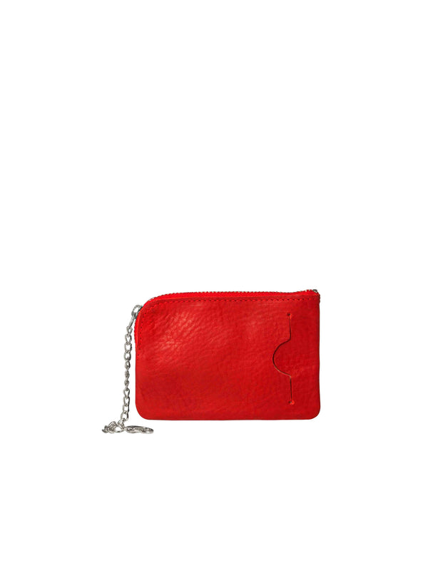 Back on small red wallet with silver details