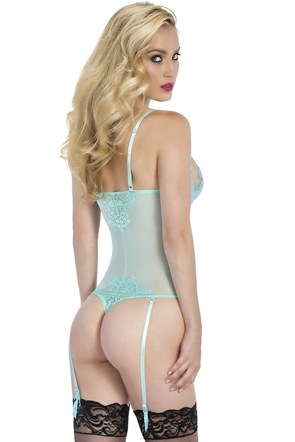 Seduction Bodysuit with Garters - Mint