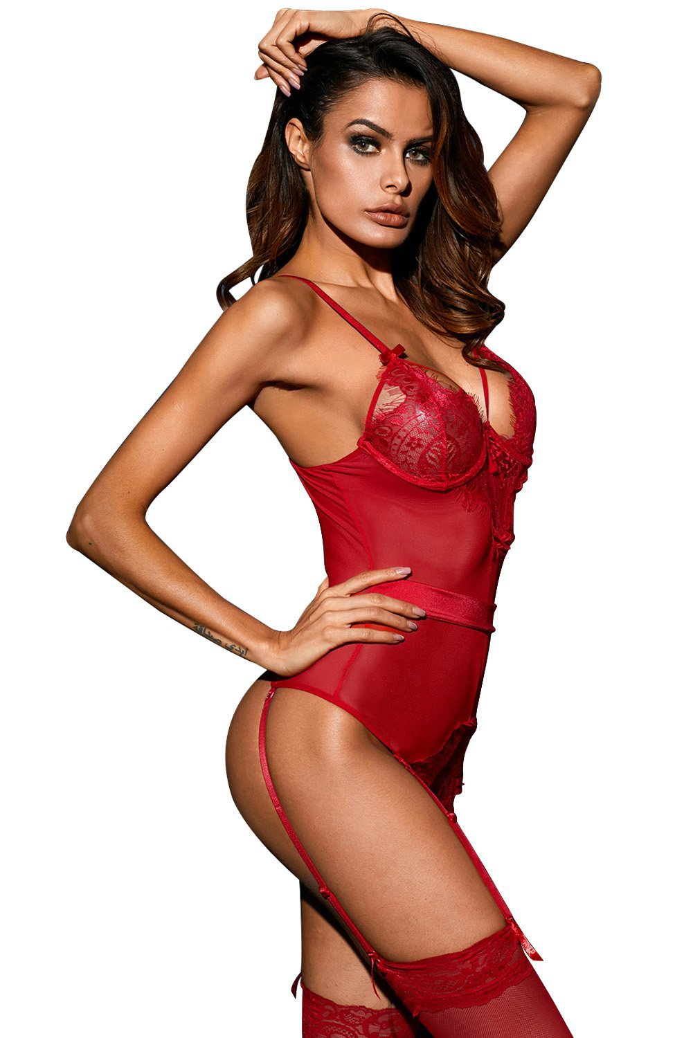 Seduction Bodysuit with Garters - Red