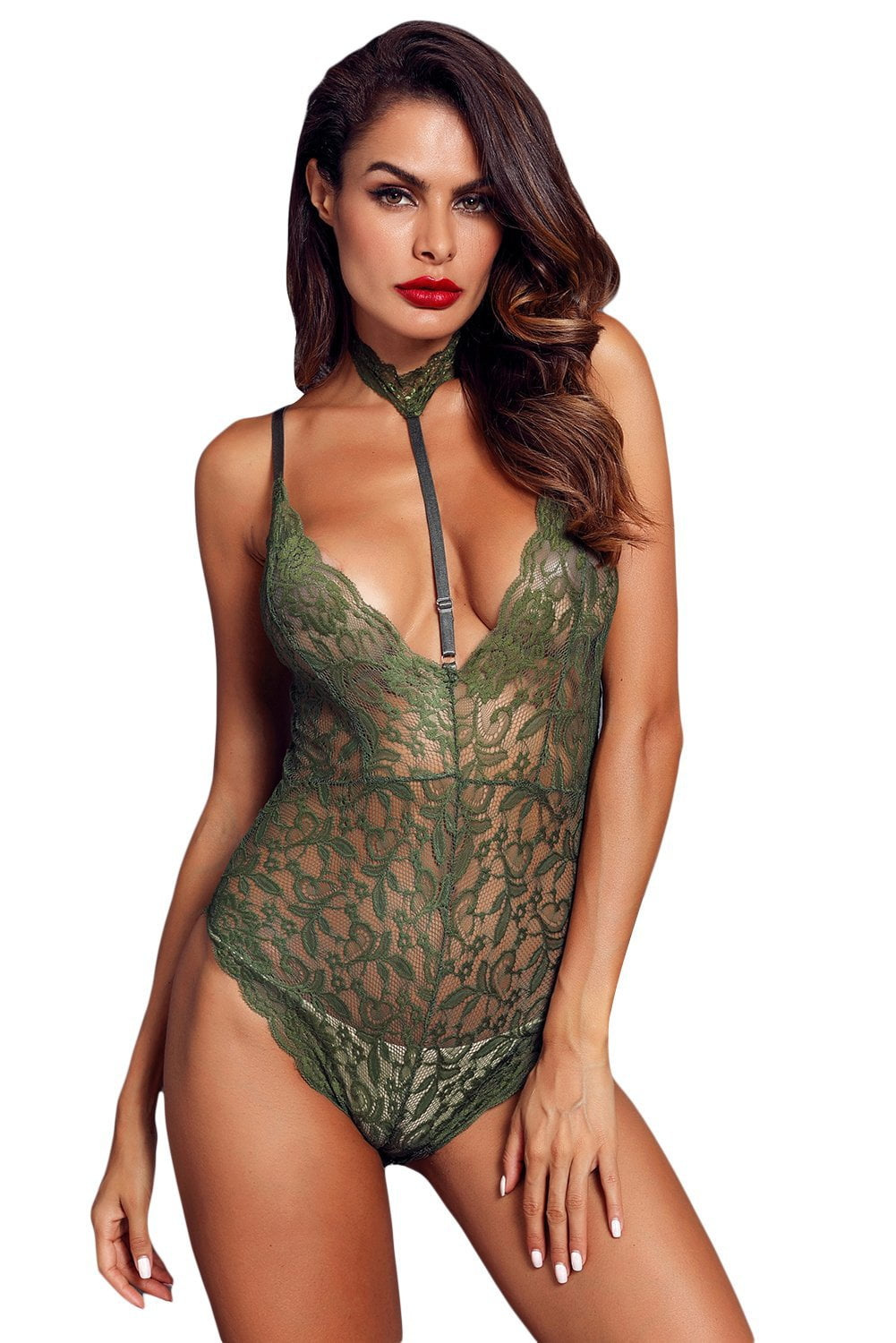 58b4425e68 Tantalize Choker Bodysuit - Army Green - Wild Thoughts Lingerie