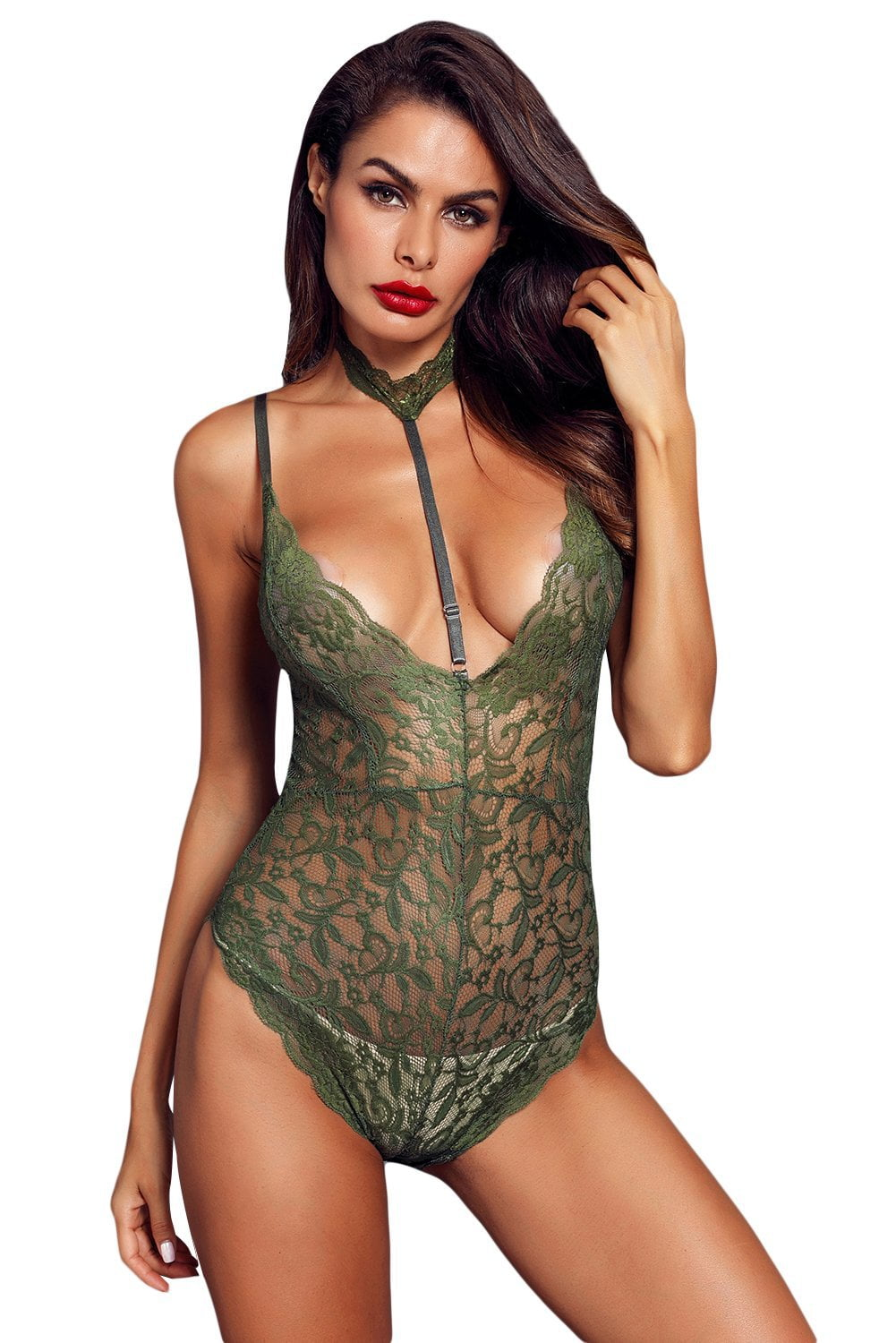 Tantalize Choker Bodysuit - Army Green