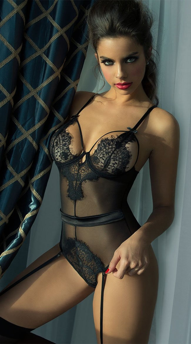 Seduction Bodysuit with Garters - Black