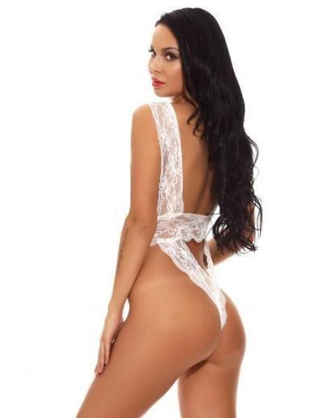 Erotic Backless Teddy - White