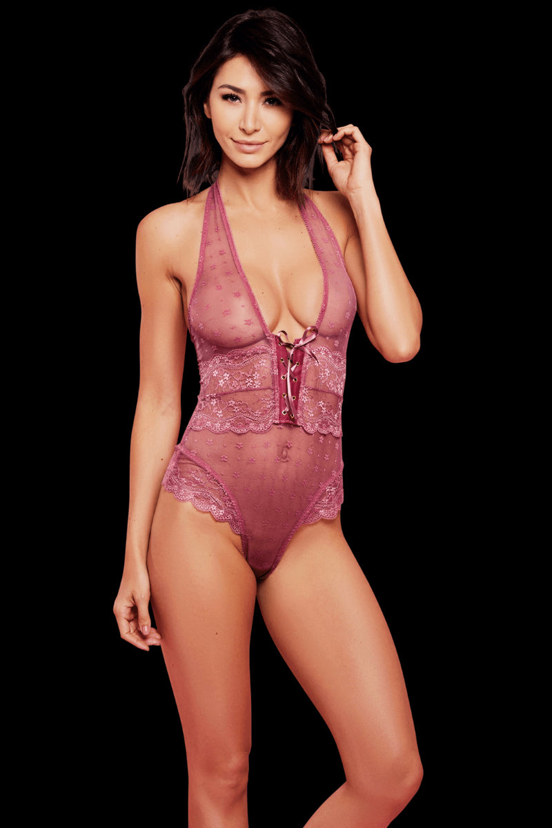 Heart's Content Bodysuit - Dusty Pink