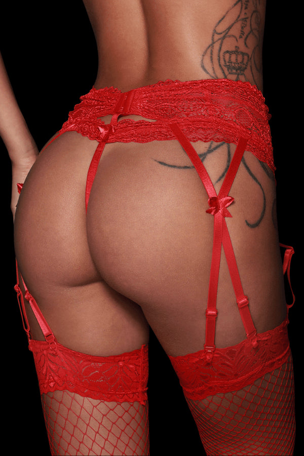 Crave Suspender Belt - Red