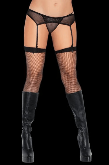 Danger Fishnet Thigh High Stockings - Black
