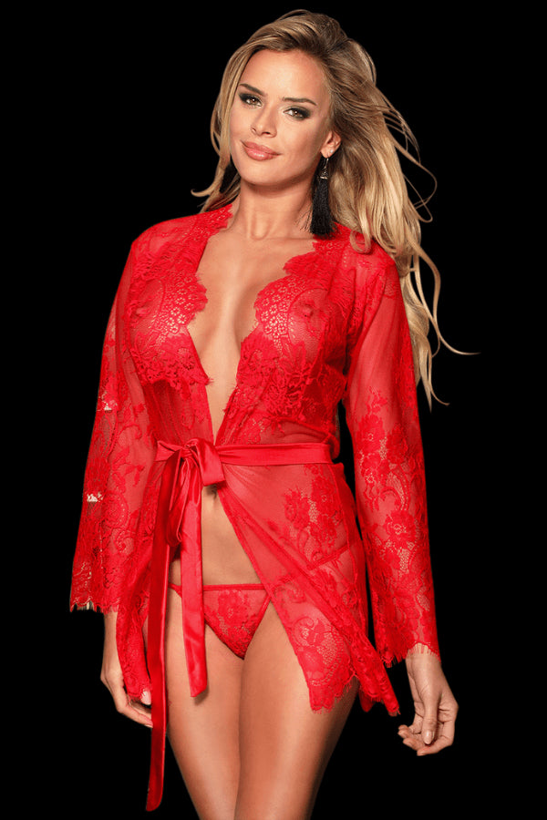 Dessert Lace Robe - Red