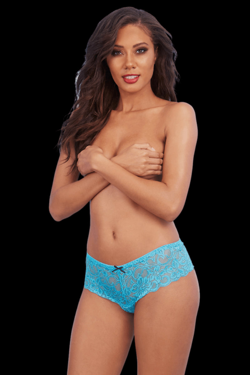 Electric Crotchless Boyshorts - Turquoise