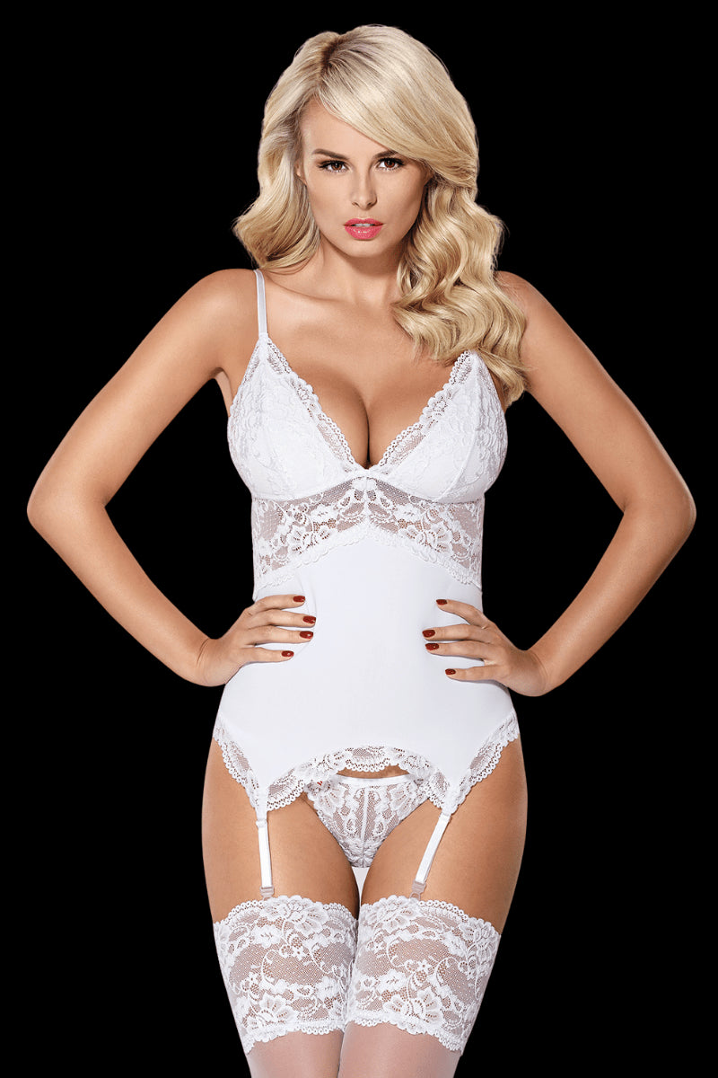Heaven Sent Corset Set - White