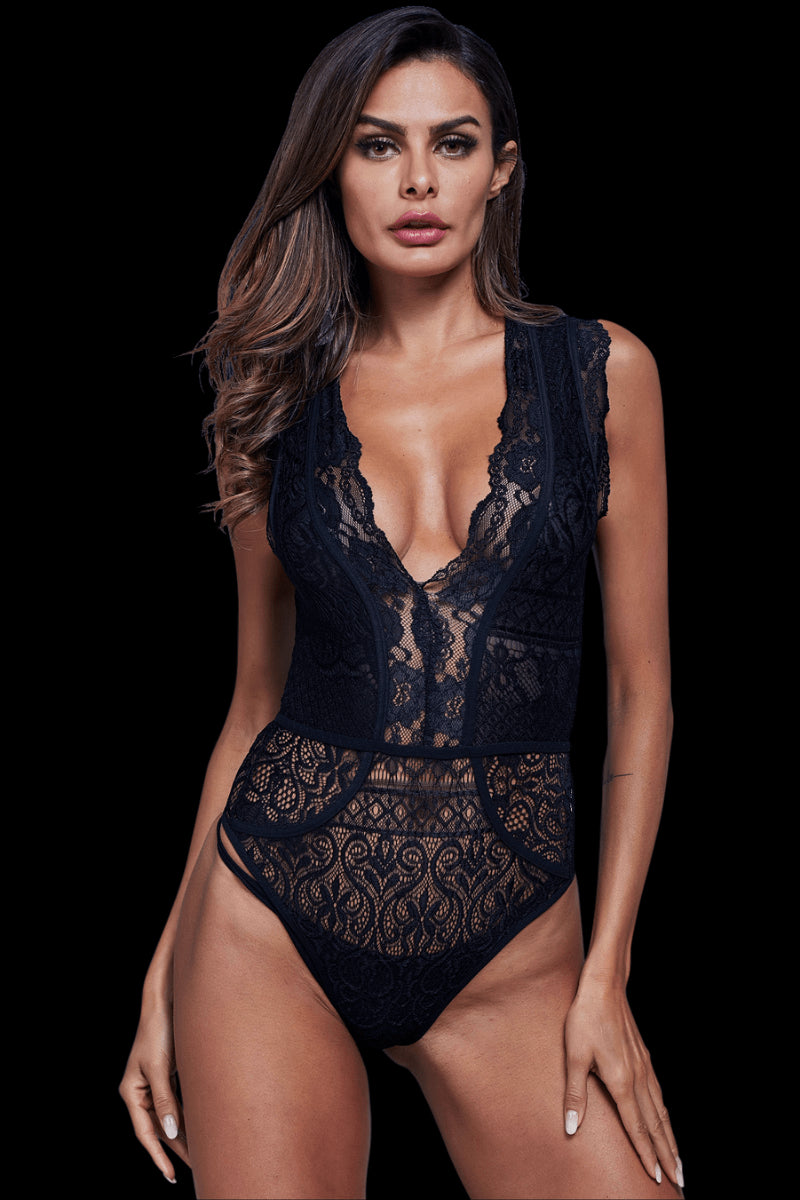 Indulge Lace Bodysuit - Black