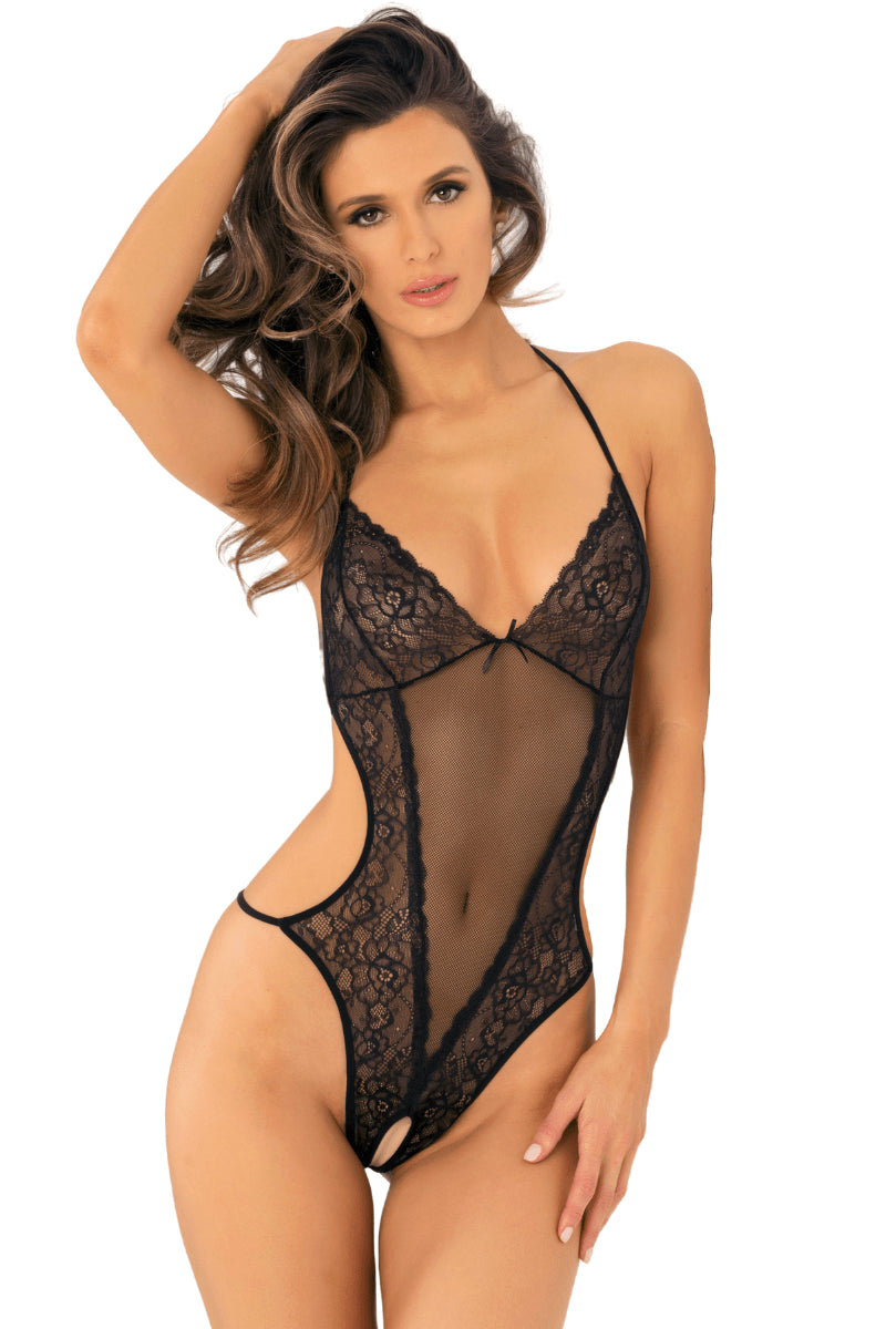 Naughty Crotchless Bodysuit - Black