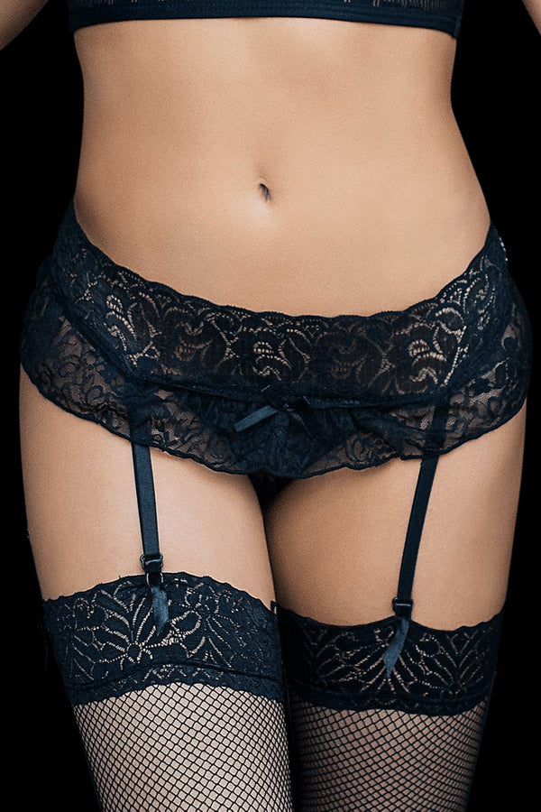 Seduce Me Garter Briefs - Black
