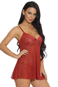 Whisper Babydoll Set - Red