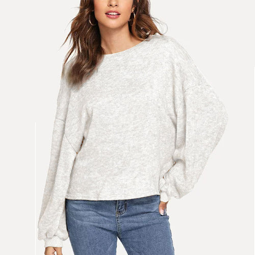 Flowing Lantern Sleeve Knit Blouse