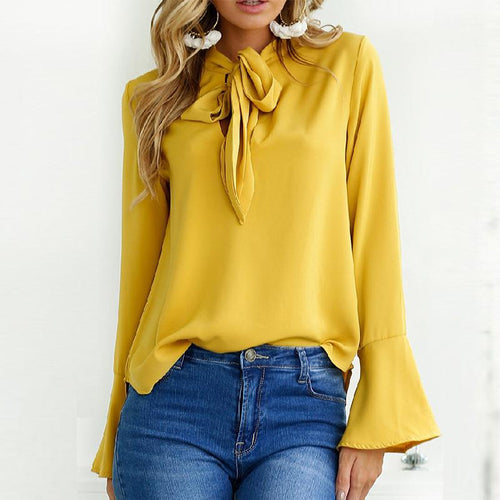 Tie Collar Plain Chiffon Bell Sleeve Blouse