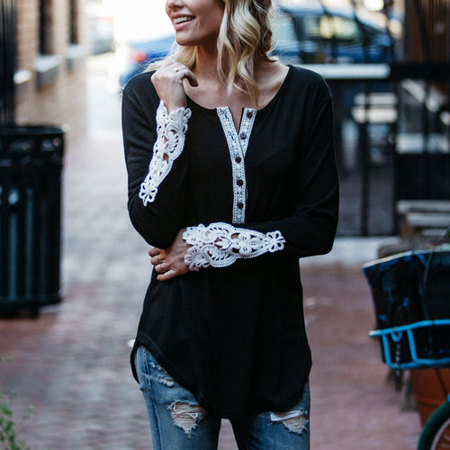 Fashion Lace V-Neck Long Sleeve T-Shirts