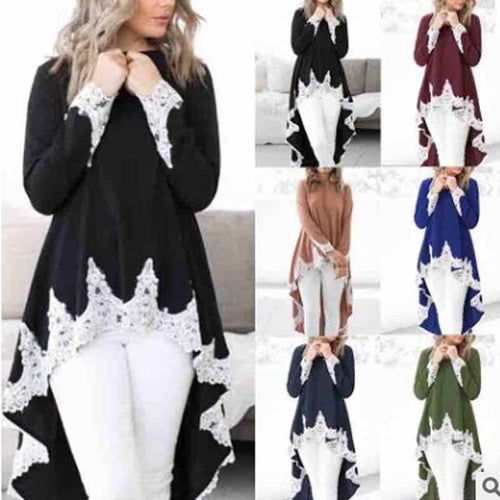 Irregular Lace Stitching Long Sleeves T-Shirts