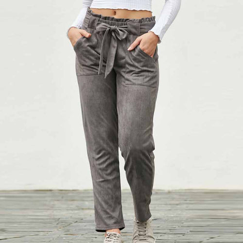 Suede Casual High Waist Pants
