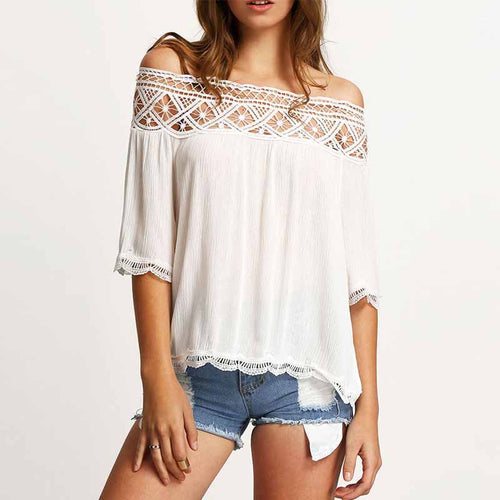 Women  Off Shoulder  Decorative Lace See-Through  Plain  Half Sleeve Blouses