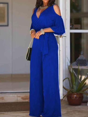 Women's New V-Neck Strapless High-Wide Wide Leg Pants Siamese Pants