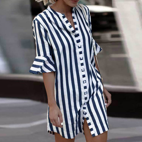 Fashion Button Stripes Half Sleeve T-Shirts
