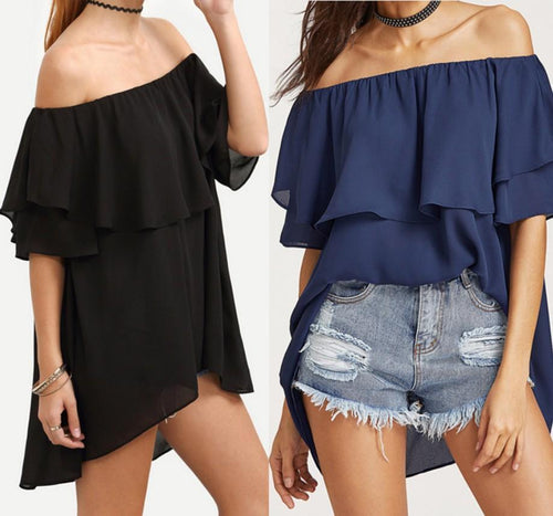 Sexy Off Shoulder Ruffed T-Shirts