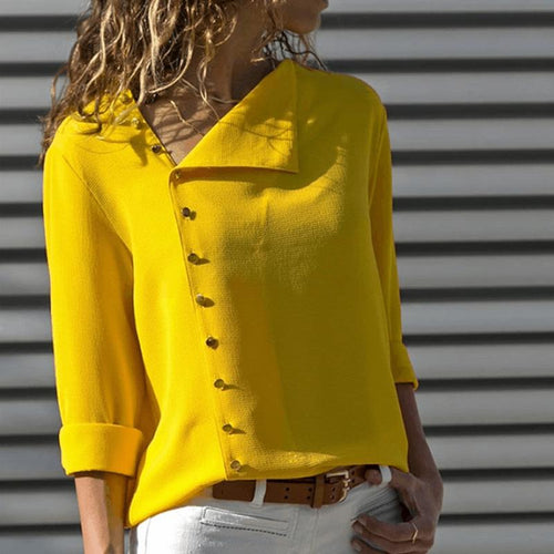 Fashion Asymmetrical Collar Button Long Sleeve Blouse