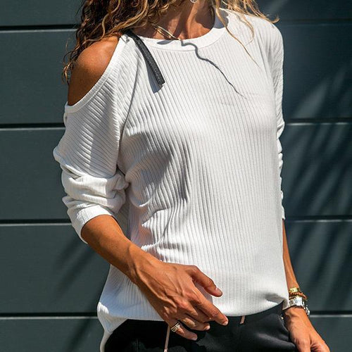 Off-Shoulder Bat Sleeve Solid Knit T-Shirts