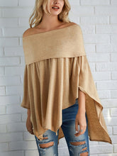 Off Shoulder  Asymmetric Hem Cutout  Curved Hem Smocked Bodice  Plain  Batwing Sleeve Long Sleeve T-Shirts