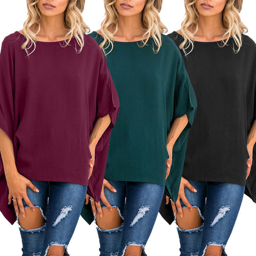 Round Neck Plain Loose T-Shirts