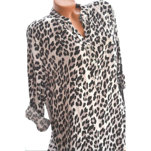 Leopard Printed Long Sleeve Button Blouses