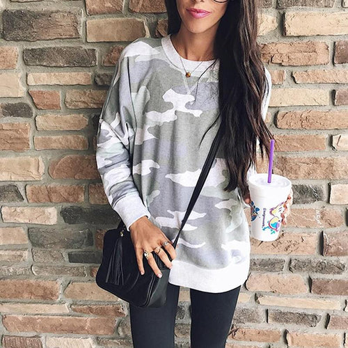 Fashion Camouflage Printed Long Sleeve T-Shirts