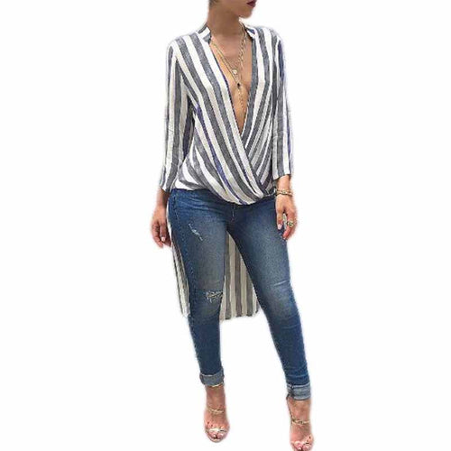 Deep V Neck  Asymmetric Hem  Striped  Blouses