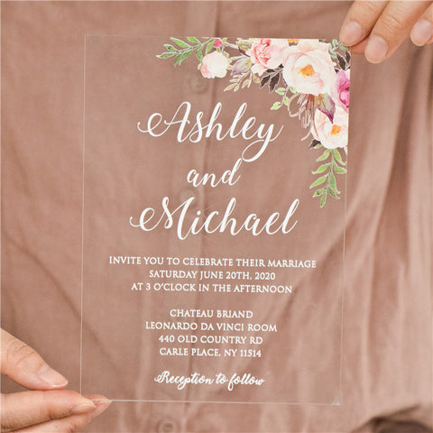 floral acrylic wedding invitation