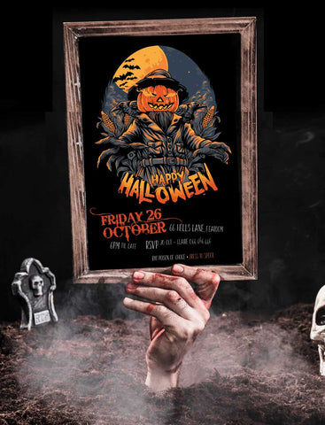 scary pumpkin halloween invitation