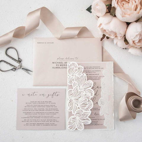 ivory and blush laser cut wedding invitation