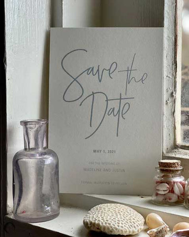 save the date card sky blue and white