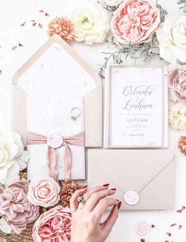 blush ribbon wedding invitation suit wax seal