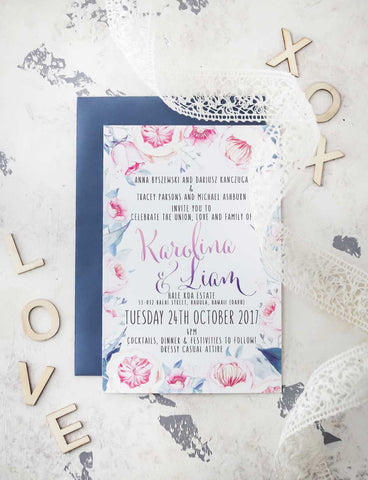 watercolour flowers wedding invitation