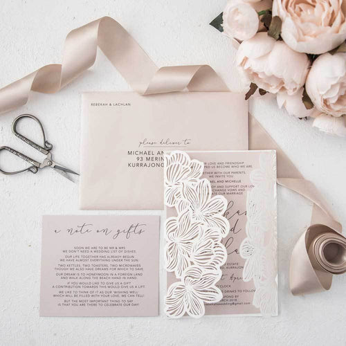 blush flower laser cut invitation