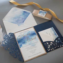 navy Laser cut invitation Tri-fold Pocket