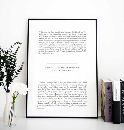 wedding anniversary vow print