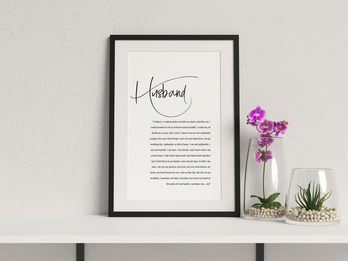'Husband & Wife' Wedding Keepsake Wall Art