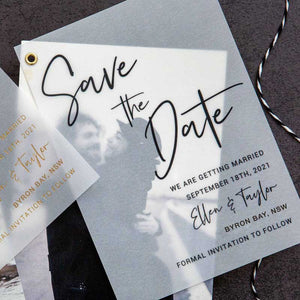 save the date card vellum