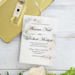 white rose layered vellum invitation