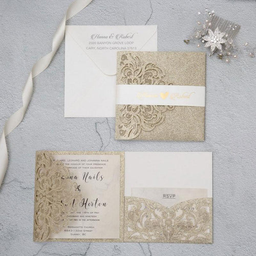 glitter laser cut wedding invitation