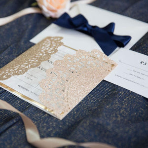 glitter doily laser cut wedding invitation
