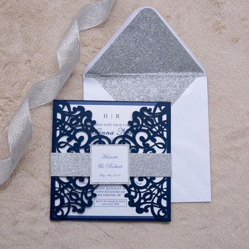 lace laser cut wedding invitation with glitter belly band