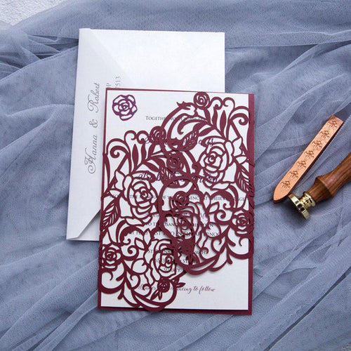 rose laser cut wedding invitation