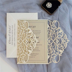 ivory laser cut wedding invitation